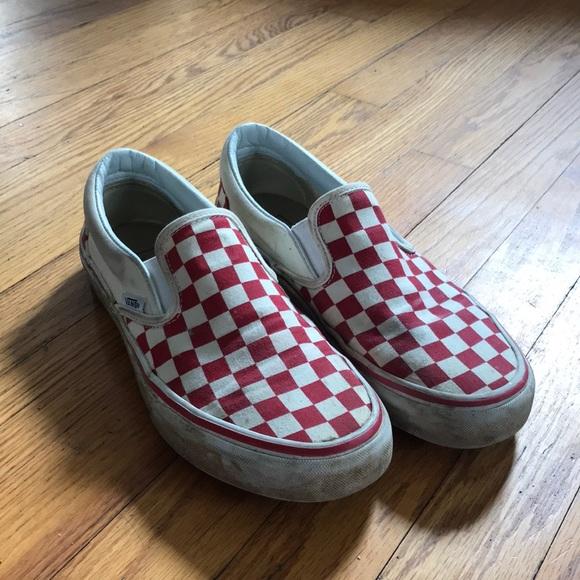 Red Checkered Slip On Vans | Poshmark